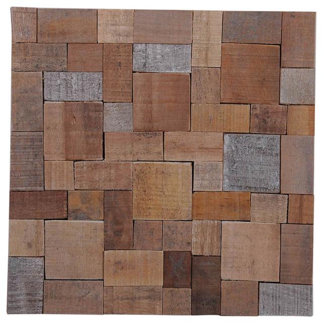 "Contemporary Wall Tile 15.75""x15.75"" kayu mosaic teak wall tiles, set of 6 - contemporary"