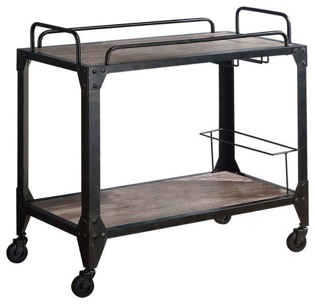 Industrial Kitchen Cart Bar Cart Serving Cart: Acme Caitlin Serving Cart, Rustic Oak And Black