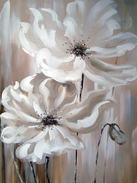 White Flower I Oil Painting.