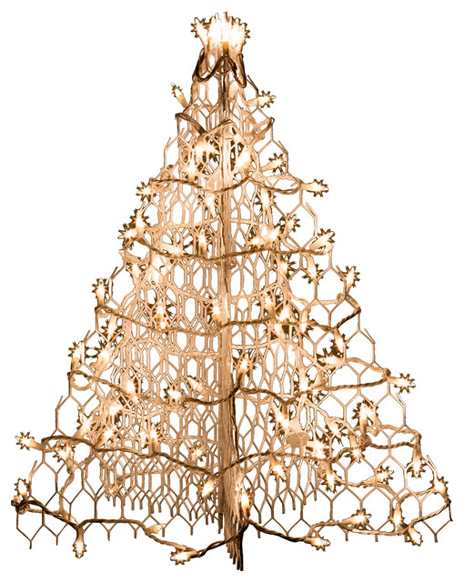 2 white wire crab pot tree with 100 clear mini lights