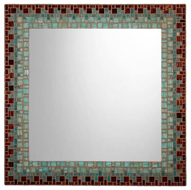 Mosaic Wall Mirror Tiger S Eye Brown Sea Green Light