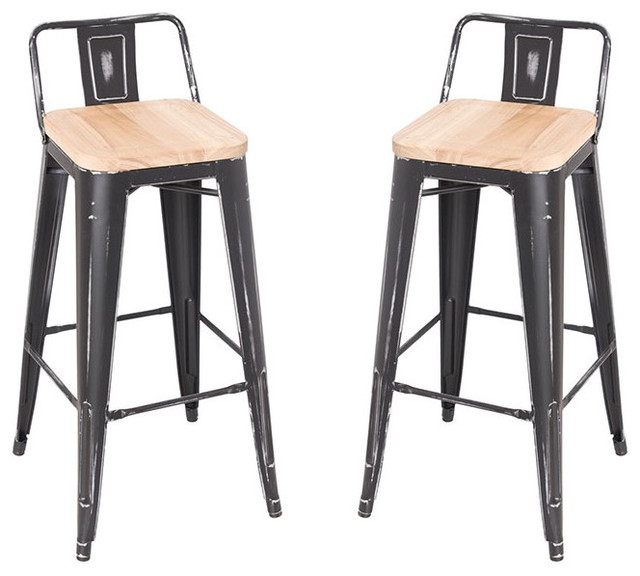 Stackable Antique Black Steel Bar Stools Ash Solid Wood Seat Set of 2 contemporary-  sc 1 st  Houzz : black and wood bar stools - islam-shia.org