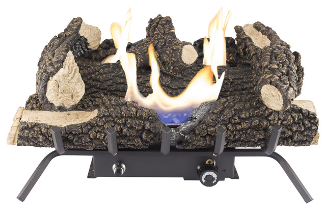 "Dual Fuel Wildwood Vent Free Gas Log Set 30,000 Btu, 24""."