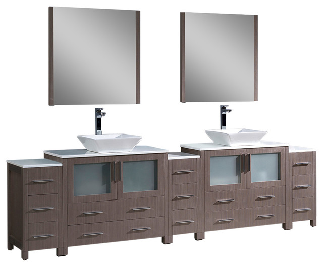 Torino 108 Gray Oak Double Sink Bathroom Vanity 3 Side Cabinets Vessel Sinks Contemporary
