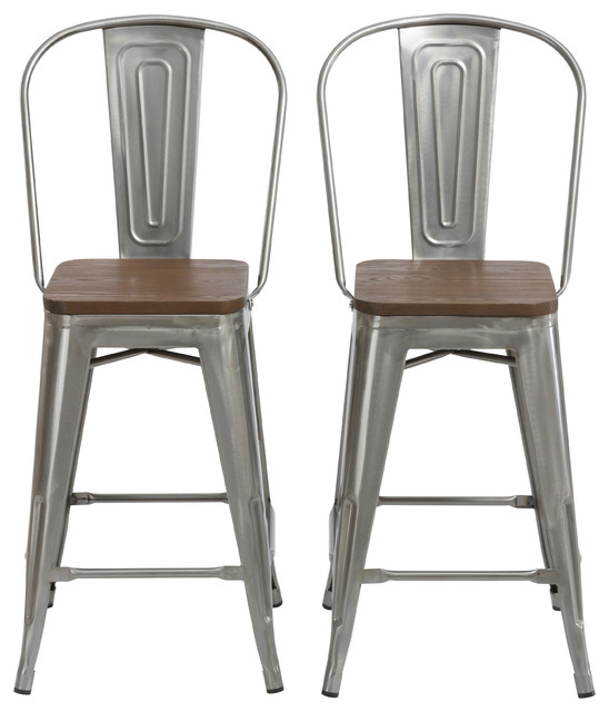 """24"""" Clear Metal Antique Bar height Stool Chair High Back Wood Seat, Set of 2"""
