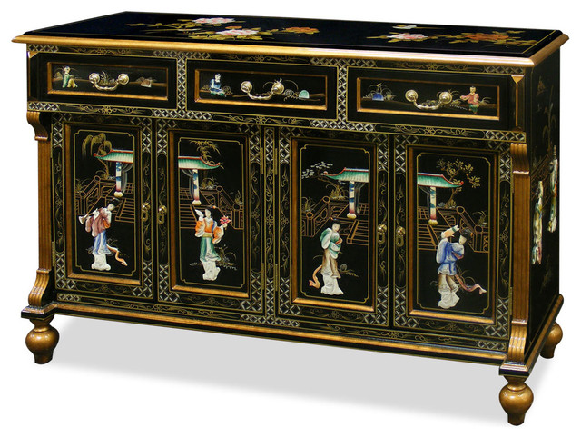 Black Lacquer Mother of Pearl Motif Sideboard - Asian - Furniture - by China Furniture and Arts