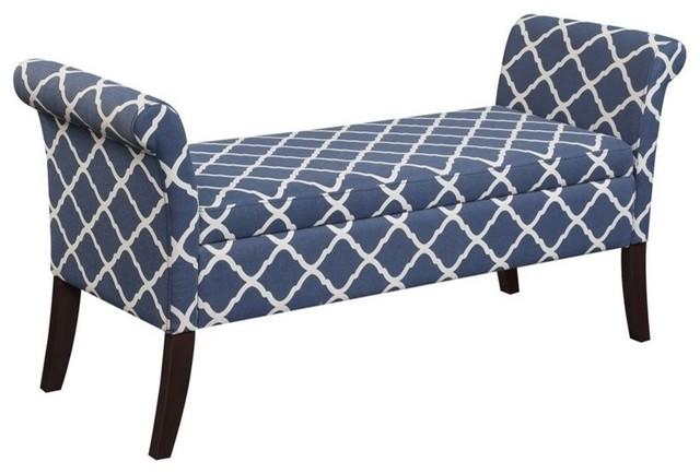 Convenience Concepts Designs4comfort Garbo Bedroom Bench, Blue.