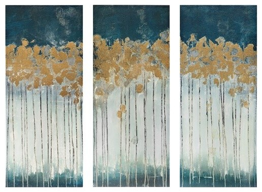 3-Piece Midnight Forest Gel Coat Canvas With Gold Foil Embellishment Set.