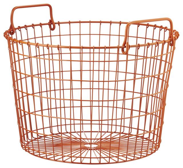 Orange Round Wire Basket