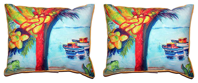 Pair of Betsy Drake Cocoa Nuts & Boats Small Pillows 12 X 12