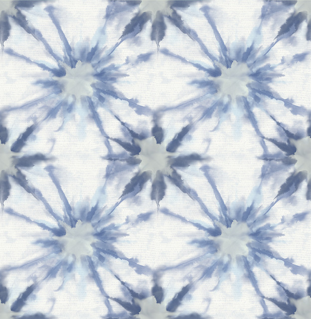 Iris Indigo Shibori Wallpaper Contemporary Wallpaper By