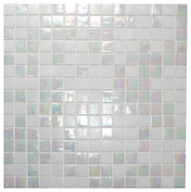 Mixed Cloud White Glimmer Glass Tile, 12