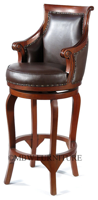 Solid Mahogany Genuine Brown Leather Swivel Barstool