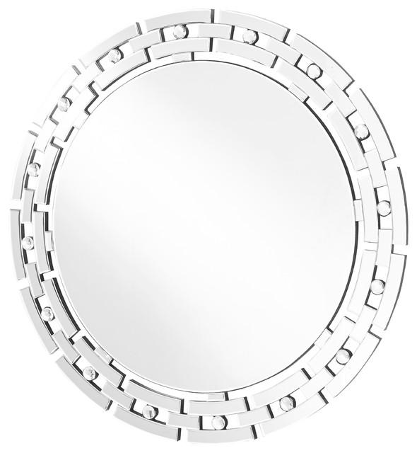 "Sparkle 36"" Contemporary Round Mirror, Clear."