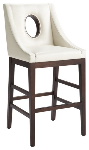 Sloping Arm Leather Bar Stool Ivory transitional bar stools and counter