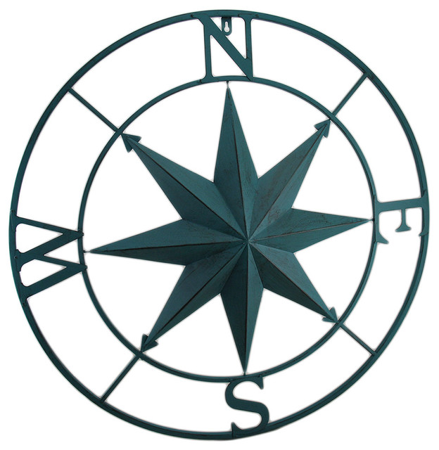 Metal Compass Rose Distressed Finish Wall Hanging