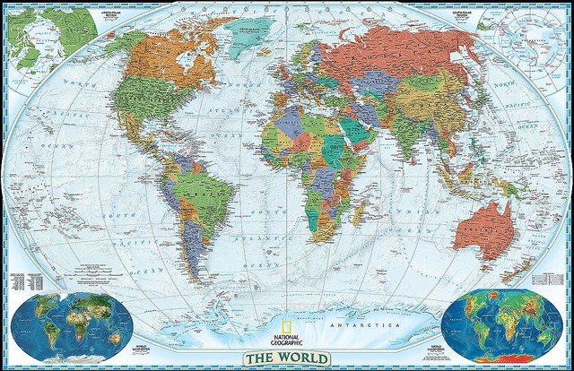 Decorator World Map Wall Mural    Self Adhesive Wallpaper In Various Sizes  By M