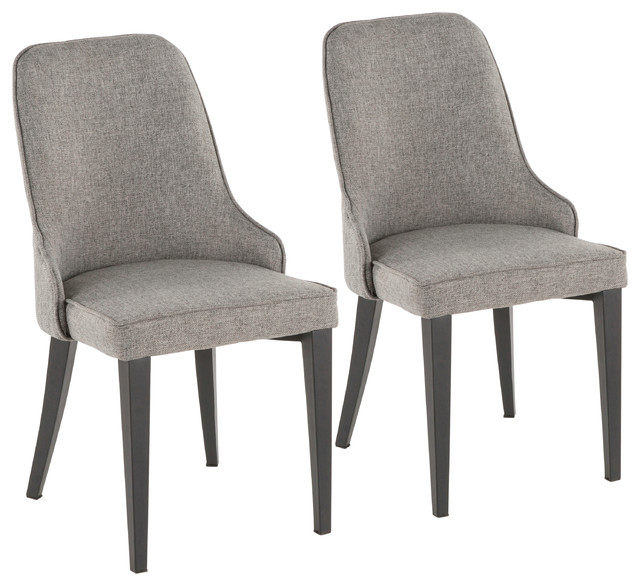 Lumisource Nueva Chair, Black Metal and Gray, Set Of 2