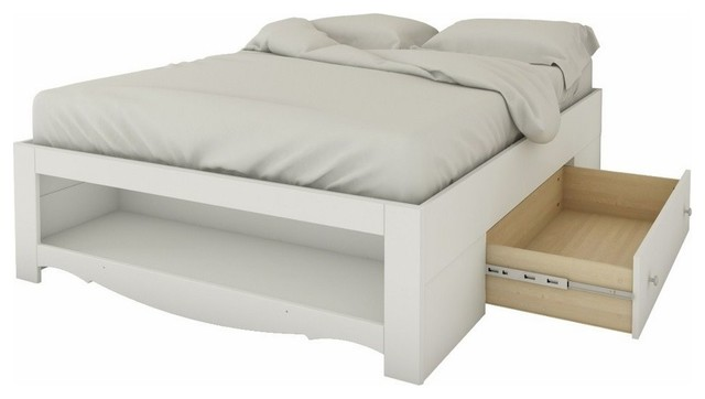Scripps Storage Bed, White, Full.