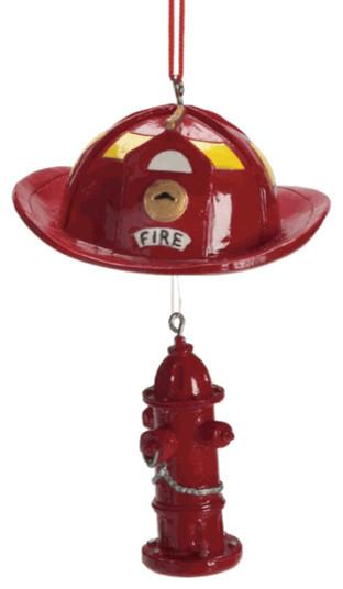 Firefighter Helmet & Fire Hydrant Christmas Tree Ornament - Summer ...
