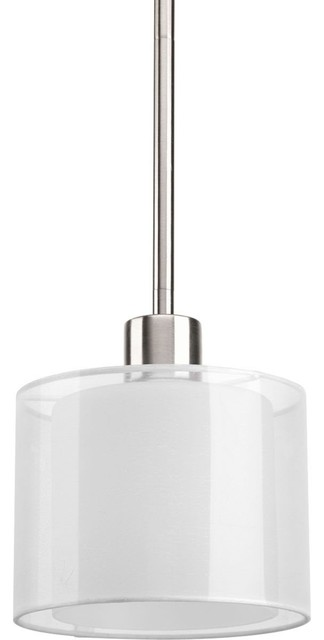 Progress Lighting Invite 1-Light, Mini-Pendant, Brushed Nickel.