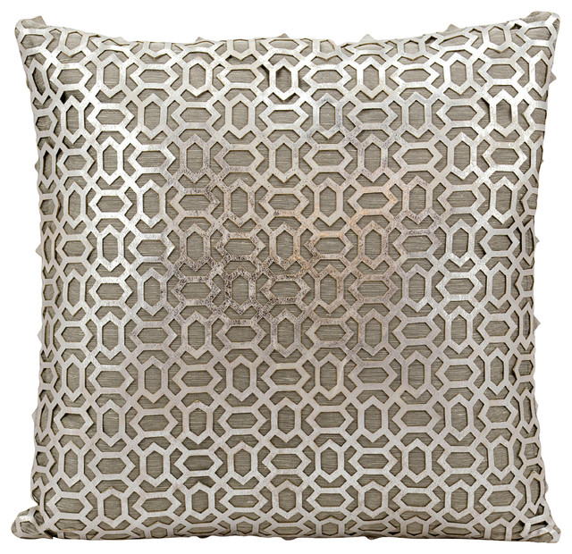 "Mina Victory Couture Hide Bias Laser Cut Pillow, Silver/ White 18""x18""."