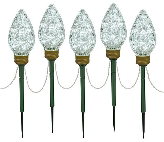 8 5 LED Cool White 5 Light Stake 24 Contemporary Holiday Ligh
