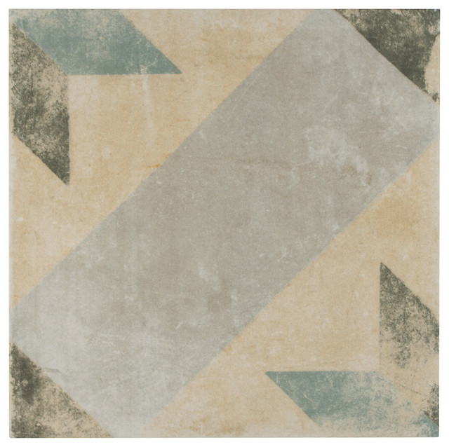 "Campania Star Porcelain Floor/wall Tiles, Set Of 16, Blue, 9.5""x9.5""."