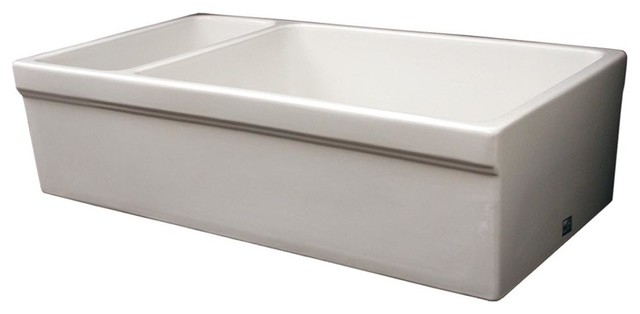 Large Quatro Alcove Reversible Fireclay Sink And Small Bowl, White.