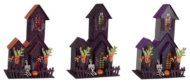 Led Haunted House, Set Of 3.