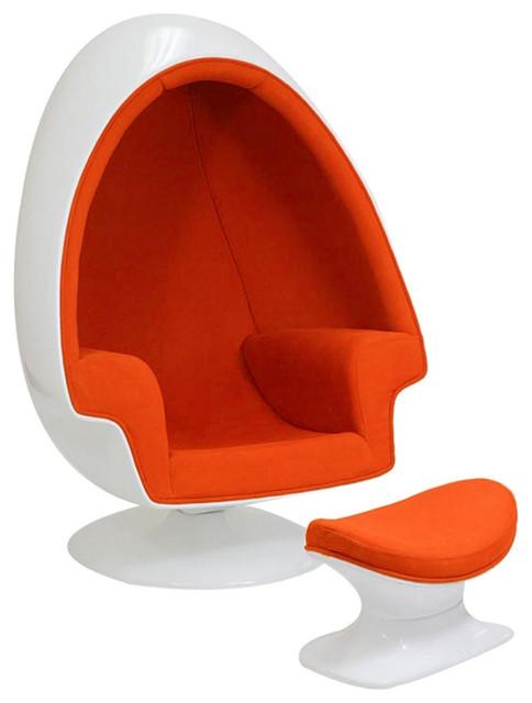 Eero Aarnio Alpha Shell Egg Chair and Ottoman, Orange