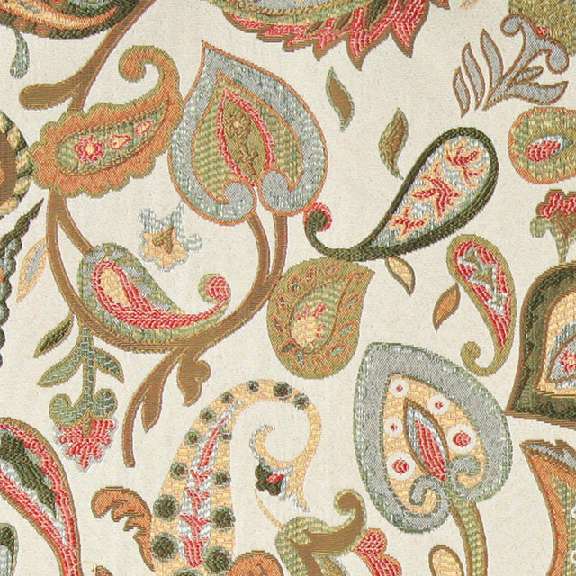 Green, Red, Yellow, Off White Paisley Contemporary Upholstery Fabric By The Yard