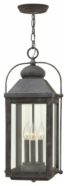 Hinkley 1852 Anchorage Outdoor 3-Light Pendant, Aged Zinc.