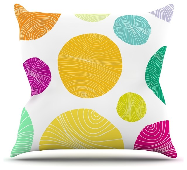 18 by 18 Kess InHouse Anchobee Iris Multicolor Pattern Throw Pillow