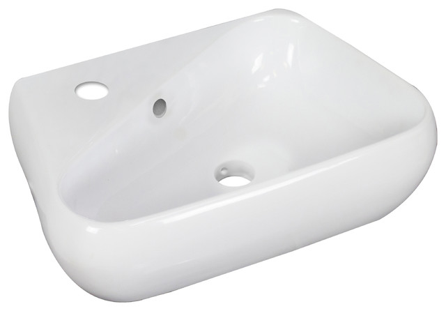 Above Counter Unique Vessel, White For Single Hole Faucet, Left, 19x11.