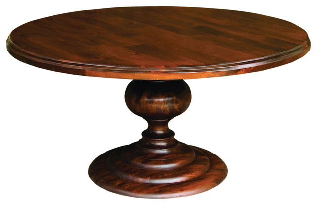 Mango Wood Round Dining Table, Dark Oak FInish traditional-dining-tables