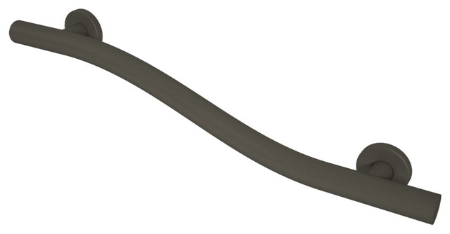 Wave grab bar oil rubbed bronze 1 1 4 x18 contemporary grab bars by grab bar specialists for Bronze grab bars for bathrooms