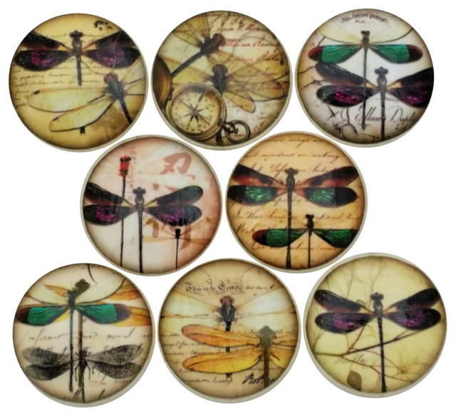 8 - Dragonfly Typography Cabinet Knobs, 8-Piece Set - View in Your Room! | Houzz