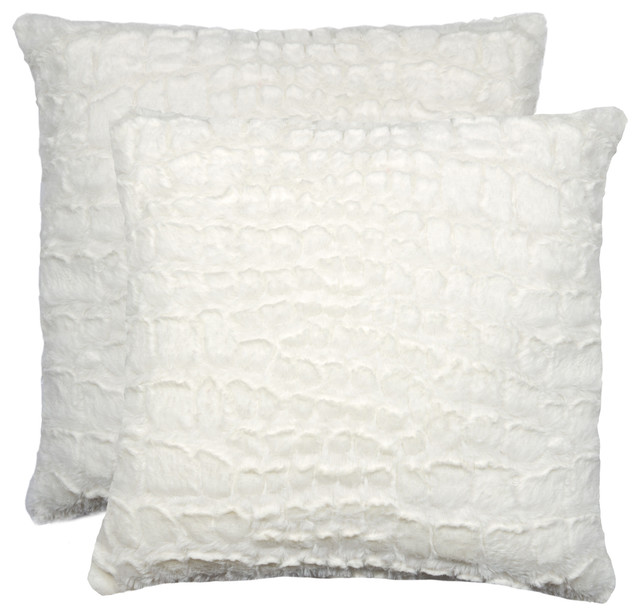 "Belton Faux Fur Pillows, Set Of 2, Ivory Mink, 18""x18""."