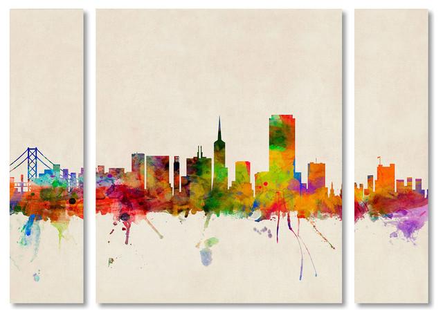 "Michael Tompsett &x27;san Francisco California&x27; Multi Panel Art Set, 41""x30""."
