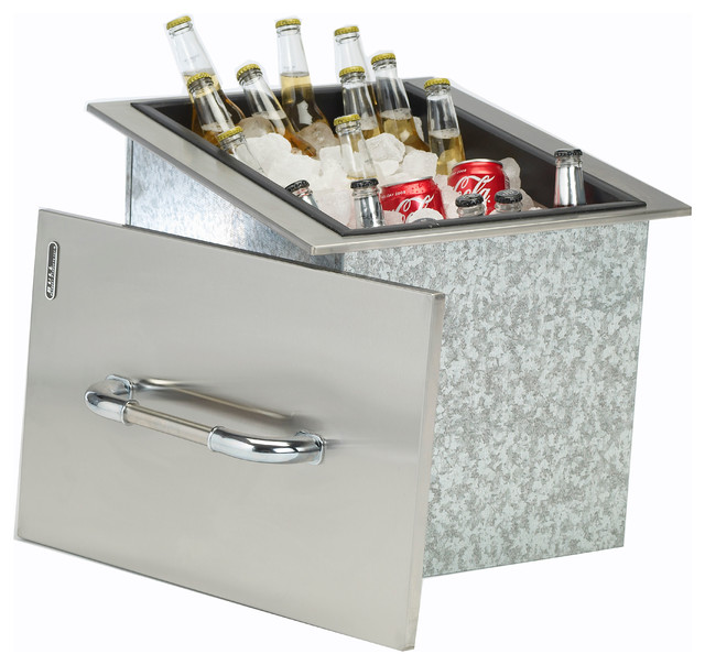 Ice Chest With Cover And Drain, Stainless Steel Drop-In.