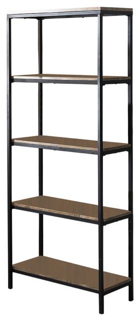 Gray Wood Black Metal Frame 5 Tier Shelf Storage Home Office Bookcase