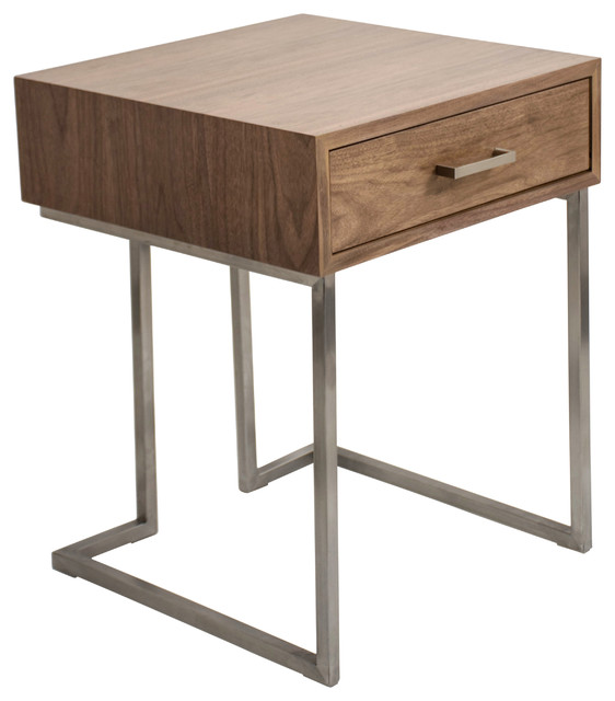 Contemporary end table walnut transitional side