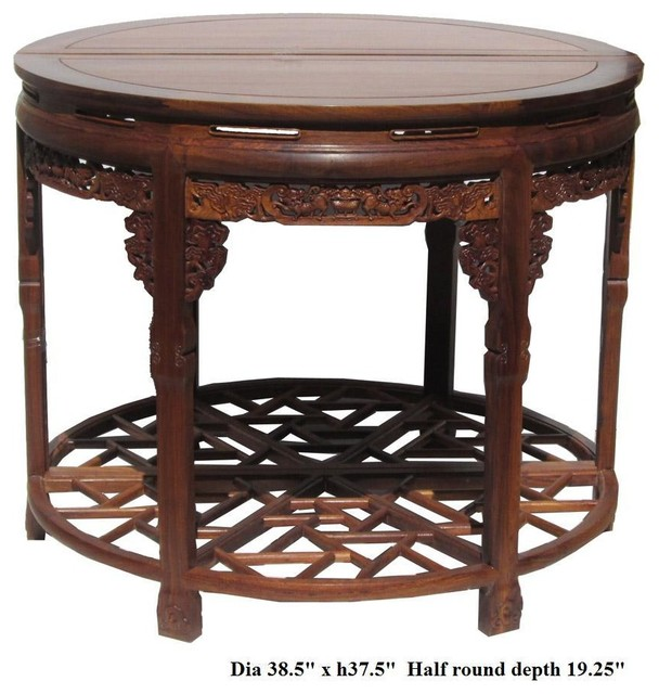 Delightful Chinese Huali Rosewood Carved Round Table Asian Side Tables And End
