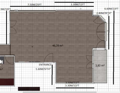 Distribución de salón/cocina diáfano