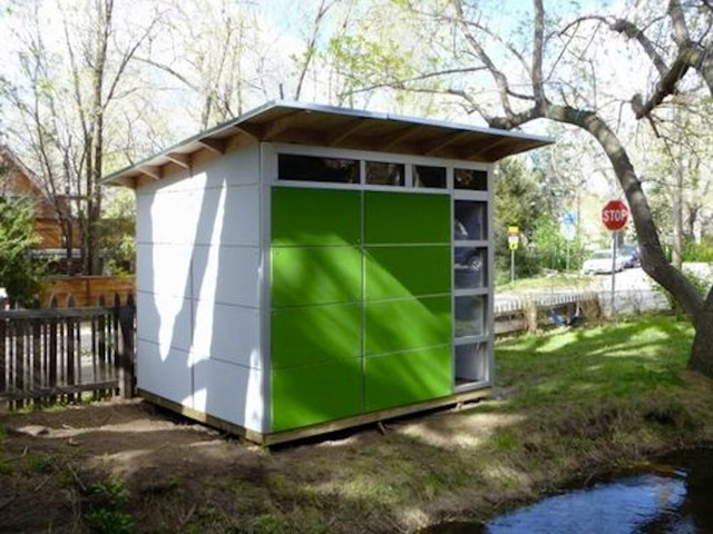 Little Green White Storage Shed Studio Shed Storage Modern