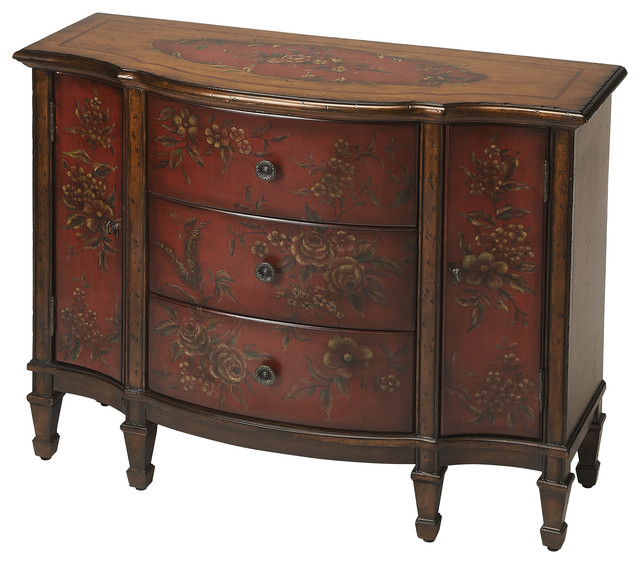 Butler Sheffield Red Hand Painted Console Cabinet
