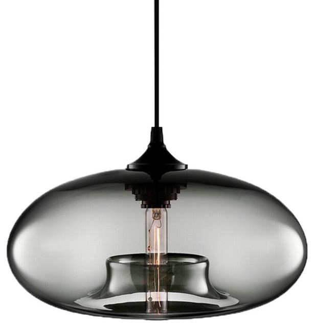 1 Light Glass Pendant Light Kitchen Island Lighting Fixture Grey.