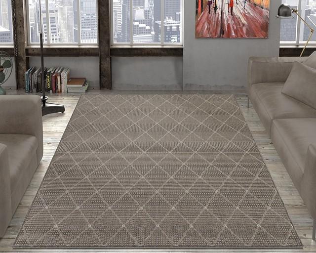 """Jardin Collection Gray Trellis Design Indoor/outdoor Area Rug, 5&x27;3""""x7&x27;3""""."""