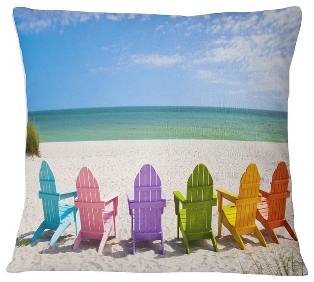 """Adirondack Beach Chairs Seashore Photo Throw Pillow, 16""""x16"""""""